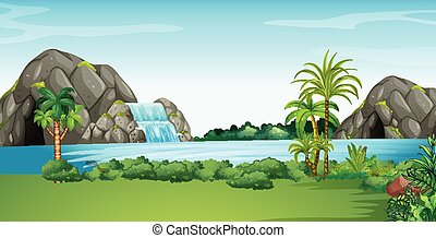 Scene with waterfall and field illustration