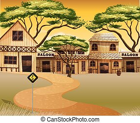 Western town with buildings and road illustration