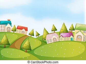 Countryside scene with houses on the hills