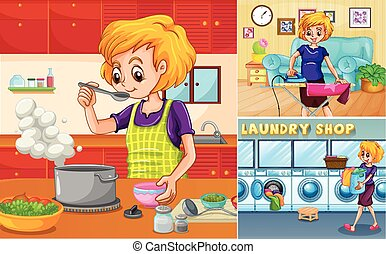 Housewife doing different chores in the house