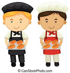 Two bakers with fresh baked bread