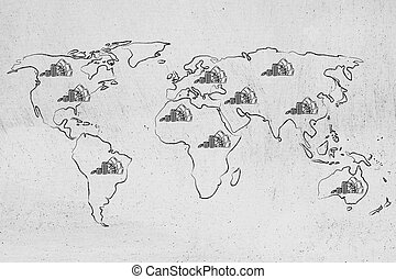 map of the world with cash, global finance and corporate...