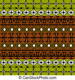 Ethnic African symbols background with green and brown
