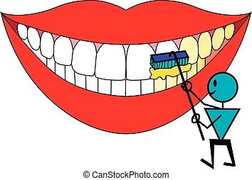 Tooth character brushing teeth