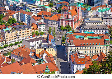 Aerial view of Tromostovje and Presern square in Ljubljana,...