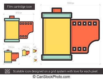 Film cartridge line icon. - Film cartridge vector line icon...