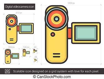 Digital videocamera line icon - Digital videocamera vector...