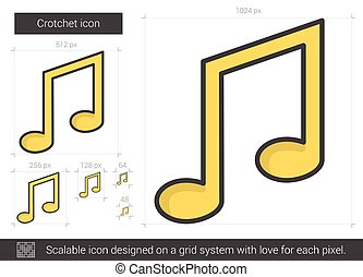 Crotchet line icon. - Crotchet vector line icon isolated on...