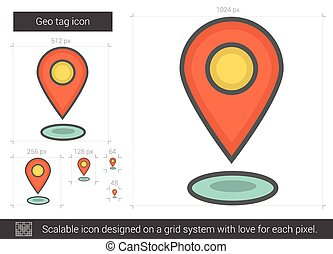 Geo tag line icon - Geo tag vector line icon isolated on...