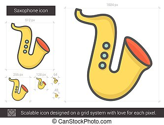 Saxophone line icon. - Saxophone vector line icon isolated...