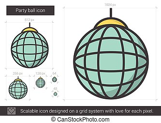 Party ball line icon. - Party ball vector line icon isolated...