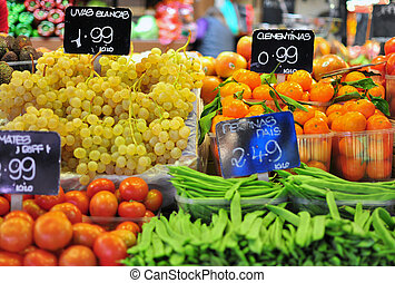 Vegetables and fruits on Boqueria market, Barcelona city