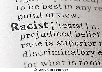 definição, Racista, Dicionário