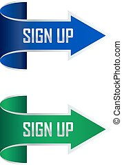 Sign up arrow vector illustration
