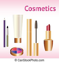 Makeup cosmetics products. Beauty cosmetic set.