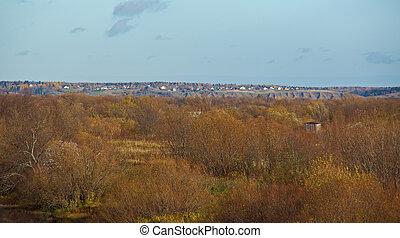 Autumn rural landscape  Arkhangelsk region, Russia