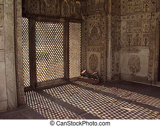 Sunlight filtering from Marble crafted palace Diwan-i-Khas...