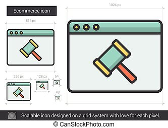 Ecommerce line icon. - Ecommerce vector line icon isolated...