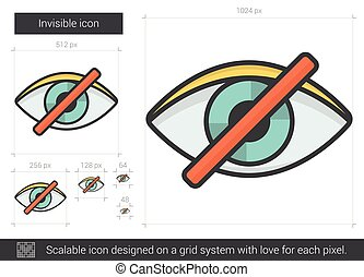 Invisible line icon. - Invisible vector line icon isolated...