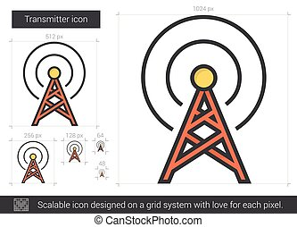 Transmitter line icon - Transmitter vector line icon...