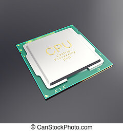 3d illustration central processor unit, CPU isolated on...
