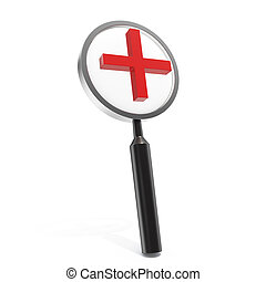 3d illustration magnifying glass isolated on white background.