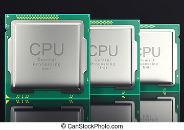 3d illustration computer PC CPU chip electronics industry...