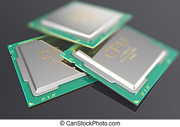 illustration CPU chip, central processor unit on black...