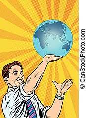 Man holding planet Earth in hand