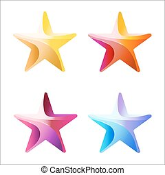 Set of Colorful stars stripped color Vector illustration