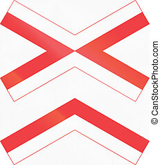 Danish warning road sign - Level crossing with multiple...