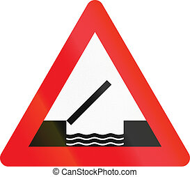 Warning road sign used in Denmark - Opening or swing bridge...