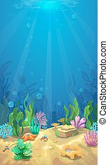 Underwater landscape. The ocean and the undersea world...
