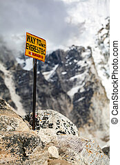 Mount Everest signpost in Himalayas Nepal.