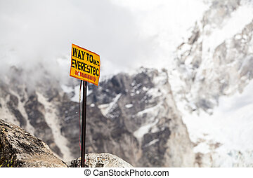 Mount Everest signpost in Himalayas Nepal