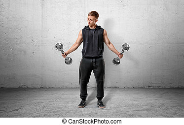 Fitness man lifting a dumbbell by both hands.