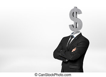 Businessman having dollar sign instead of his head - Cropped...