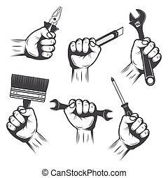 Work Tools In Hands Set - Work tools in male hands...