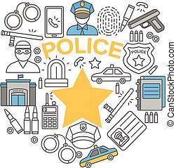Police Line Icon Set - Police line isolated icon set...