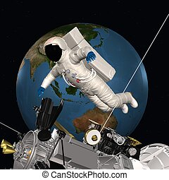Astronaut in outer space - 3D Render of an Astronaut in...