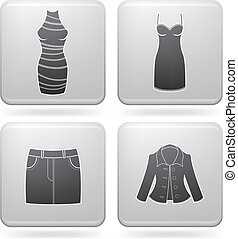Mans Clothing theme icons set covering all things from a...