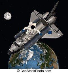 astronauta, exterior, espacio
