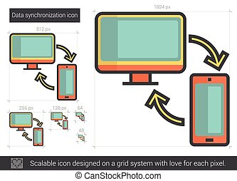 Data synchronization line icon - Data synchronization vector...