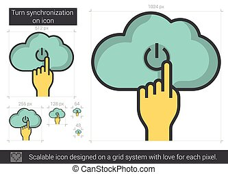 Turn synchronization on line icon - Turn synchronization on...