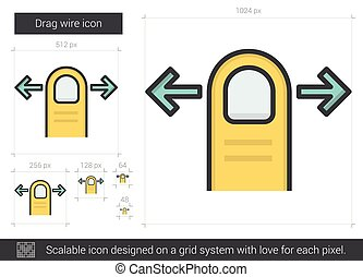 Drag wire line icon - Drag wire vector line icon isolated on...