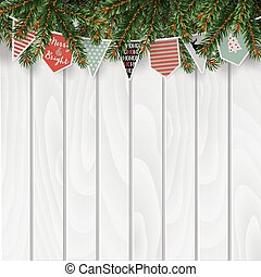 Christmas greeting card, invitation, web banner with traditional decorations. Fir, spruce branches, string of paper flags
