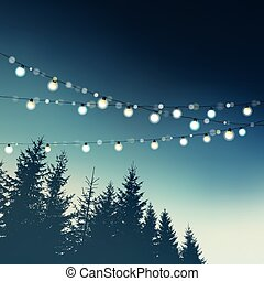 Hanging decorative holiday party lights. Christmas,...