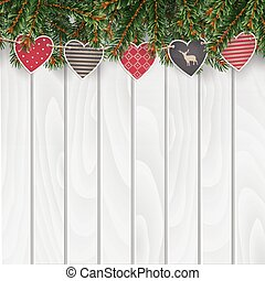 Christmas greeting card, invitation, web banner with traditional decorations. Fir, spruce evergreen branches, string of hearts.