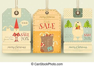 Christmas Sale Tags in Retro Style with Xmas Symbols - Santa...