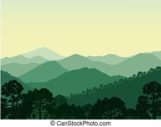 Woodland landscape. Panorama of green mountains.